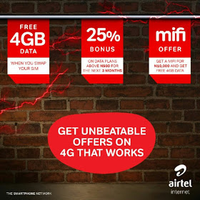 Get 4gb Data, 25% Data Bonus For 3months And 4gb Mifi Data On Airtel   Airtel-4g-jpg