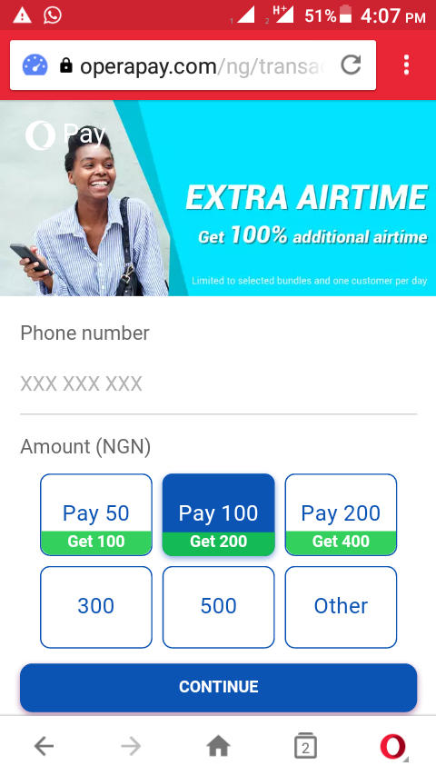 Screenshot_20180113-160750.png-How To Get 100% Bonus Up To N200 While Recharging Your Sim Card Online Using Operapay Platform
